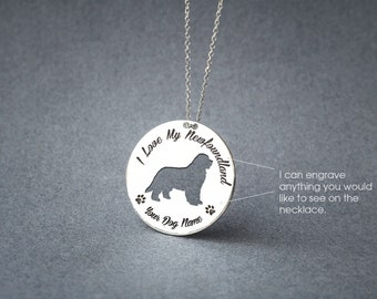 Personalised DISK NEWFOUNDLAND DOG Necklace / Circle dog breed Necklace / Newfoundland Dog necklace / Silver, Gold Plated or Rose Plated.