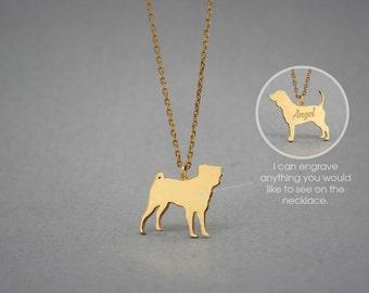 14K Solid GOLD Tiny PUG Name Necklace - PUG Necklace - Gold Dog Necklace - 14K Gold or Rose Plated on 14k Gold Necklace
