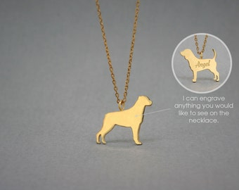 14K Solid GOLD Tiny ROTTWEILER Name Necklace - Rottweiler Necklace - Gold Dog Necklace - 14K Gold or Rose Plated on 14k Gold Necklace