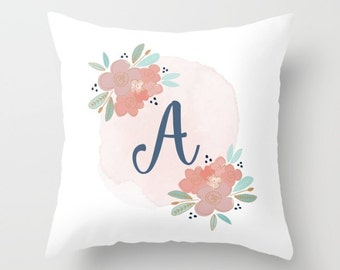 Monogrammed Pillow, Initial Pillow, Personalized Monogram, Throw Pillows Boho, Initial Pillow Cover // 18x18