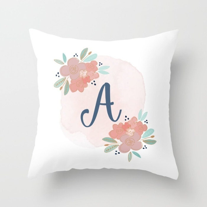 Monogram Throw Pillow Etsy : Monogrammed Pillow Initial Pillow Personalized Monogram
