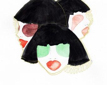 Three headed fashion painting