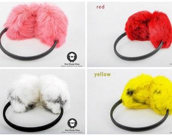 Fur Ear Muffs Fluffy ear warmers Fur Ear Muffs with Leather Band [SS-113]