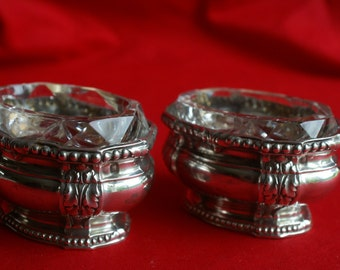 Antique pair of silver salt cellar by Emile Puiforcat