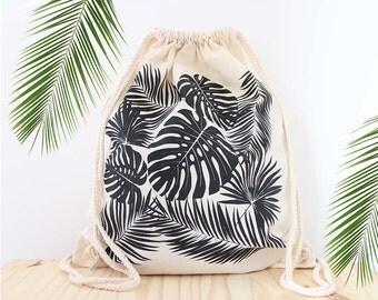 Tropical-screen printed backpack,Original ANJESY designs,Tropical string bag.