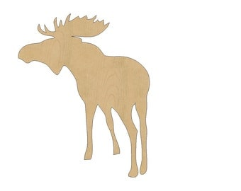 Moose Cutout Shape Laser Cut Unfinished Wood Shapes, Craft Shapes, Gift Tags, Ornaments #788 All Sizes