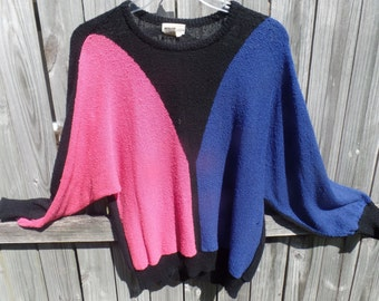 TOWNHOUSE pink/blue/black sweater - 1980's pullover