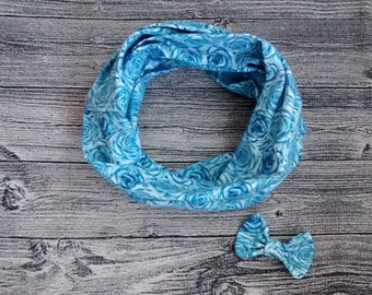 Duo infinity scarf and barrette - blue pink