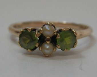 Edwardian 14k gold peridot & pearl ring. Size US 6 / UK M Dated 1903 Free shipping USA Canada