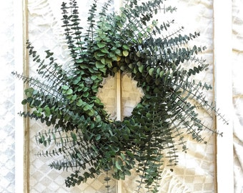 Green Eucalyptus Wreath, Fragrant, Preserved, Indoor, Country, Dried Wreath, Flowers, Dry Floral, Fall, Autumn, Modern, Natural, Year Round