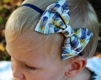 feathers bow headband