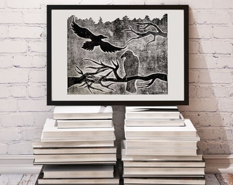 Atmospheric illustration of a forest and crows