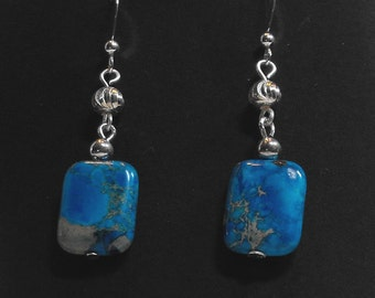 Bright Turquoise and Sterling silver earrings