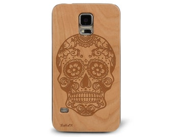 Laser Engraved Plumeria Floral Sugar Skull Day of the Dead with Mandala on Genuine Wood phone Case for Galaxy S5, S6 and S6Edge S3-043