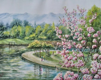 Cherry blossom art watercolor painting Flower painting Cherry tree Los Angeles art Large painting Landscape California wall art collectibles