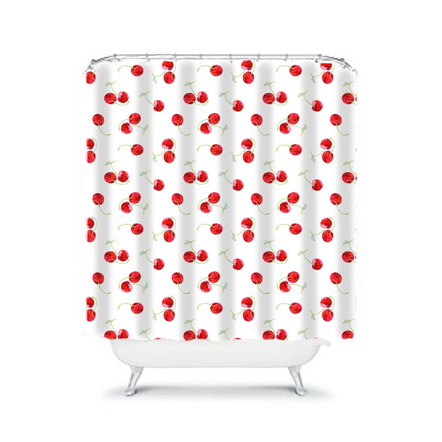 cherry shower curtainshower curtainsred shower by OzscapeHomeDecor