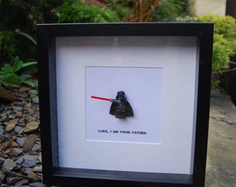 "Birthday Gift for Dad Daddy Darth Vader ""Luke I am Your Father"" Star Wars Lego Replica Fathers Day Personalised Box Frame Grandad"