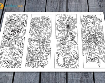 Adult Colouring Bookmarks Page, Printable Colouring Pages Floral Doodle Art