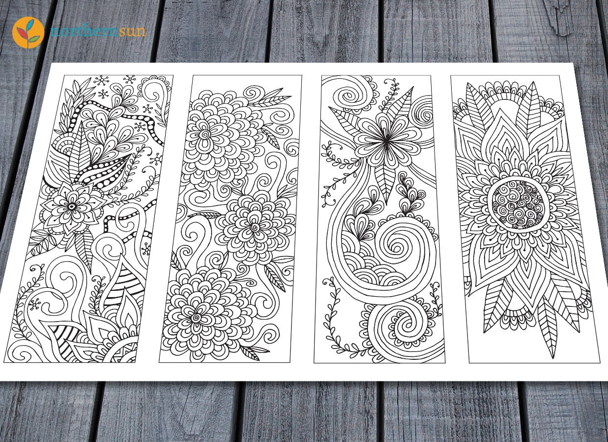 Religious bookmarks to color - Adult Colouring Bookmarks Page Printable Colouring Pages Floral Doodle Art