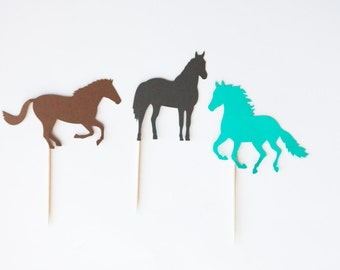 Horse cupcake toppers, horse party, horse birthday, horse toppers, birthday decoration, cupcake toppers, set of 12
