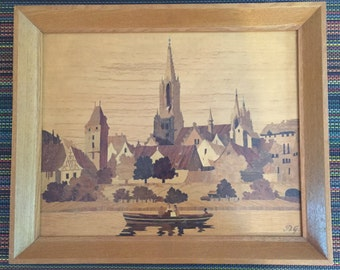 Shipping Included - Buchschmid Gretaux BG Wood Inlay Art Picture Ulm Made in Germany - Shipping Included