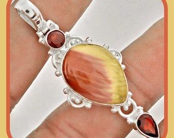 ON SALE: Healing & Understanding Red Garnet and Brown Imperial Jasper SS Pendant #9-5
