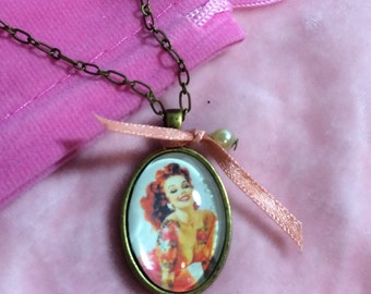 Small Tattooed Pinup Necklace