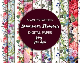 Watercolor Floral Seamless Patterns set. Digital images, small commercial use.