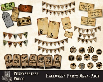 Halloween Party Pack Printable Party Decoration Bunting Banner CupcakeToppers Labels Tags Menu Cards Place Cards Instant Digital Download