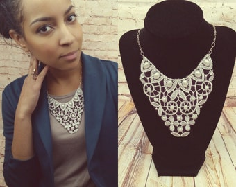 Whimsical Lace Design, Embroidered Necklace - International Appeal