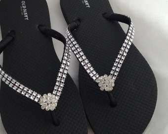 Bridal Flip Flops, Rhinestones Flip Flops, Bridesmaid Flip Flops, Wedding Flip Flops, Black Bridal Flip Flops