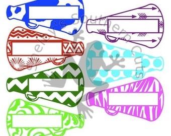 7 Patterned Megaphone NAME SVG file