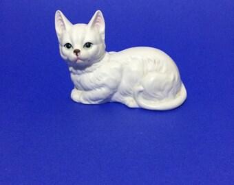 Vintage 3'' MINIATURE BONE CHINA White Cat Kitten Animal Figurine