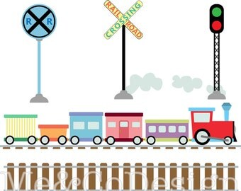 Train Clipart, Fun Cute Clipart, boy, Gears tracks Instant Download, Personal and Commercial Use Clipart, Digital Clip Art