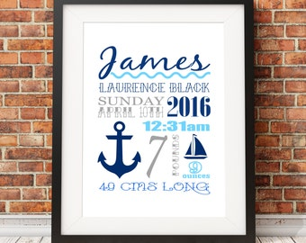 Nautical Sailor Birth Stats Baby Nursery Art Print