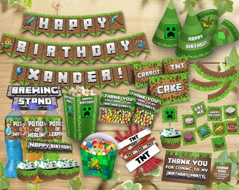 Mine Themed Birthday Party Kit Printable Set Personalized Deluxe Customizable Package Printables Decoration Bundle, Instant Digital Download
