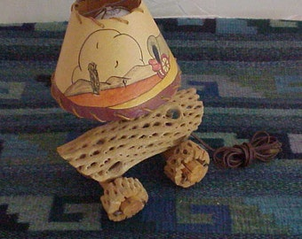 Vintage 1950's Childs Lamp Handmade from Cholla Cactus Rib #N111