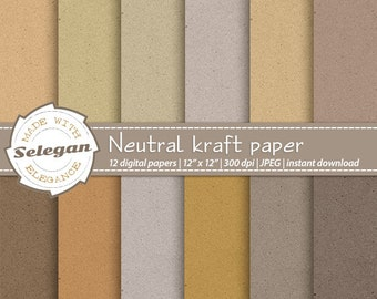 "kraft paper digital scrapbooking paper "" Neutral Kraft Paper "" school old paper 12x12 texture background earthy backdrop instant download"