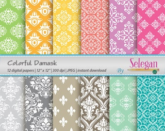 Colorful Damask, Digital Paper, Scrapbooking, Paper, 12x12, Printable, European, Pattern, Damask, Texture, Colorful, Royal, Background