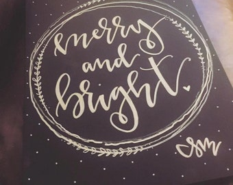 Merry + Bright Christmas Sign