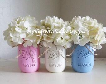 Distressed Mason Jars, Painted Mason Jars, Mason Jar Vases, Country Decor, Kitchen Decor, Nursery Decor, Baby Shower Centerpieces, Ball Jars