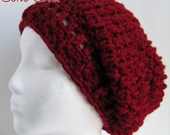 Crochet Slouchy Hat, Red Winter Hat, Red Slouchy Beanie, Womens Red Hat, Womens Winter Hat