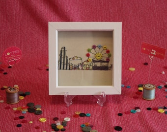 Small free motion machine embroidery textile art piece depicting Fairground artwork by Lotties Little Treasures