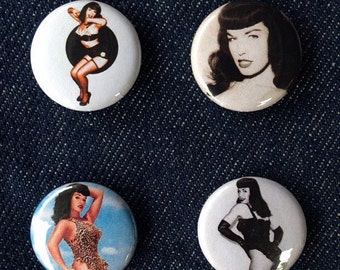 Bettie Page 1 inch badge set of four