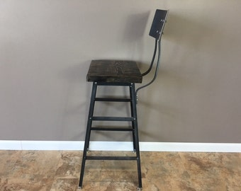 Urban Bar Stool | Reclaimed Barn Wood | Metal Backrest