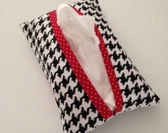 Kleenex Holder -  Tissue Holder-Travel Tissue Holder -  Houndstooth Tissue Holder- Purse Tissue Holder