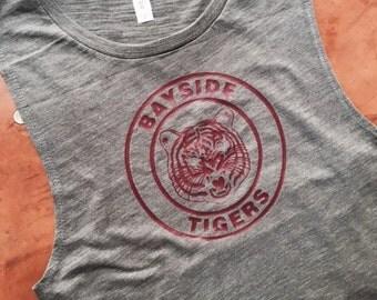 Bayside Tigers Women's Flowy Muscle Tank in  Asphalt Slub with Maroon Vinyl Logo