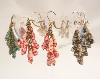 dangling earrings handmade paper original and customizable, handmade artisan jewelry