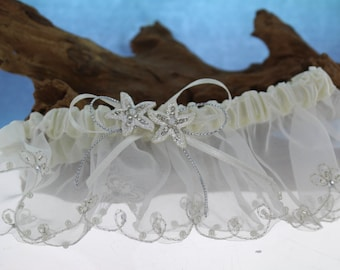 White Garter with Starfish center/ Beach Themed wedding/