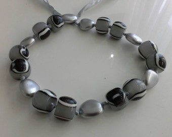 Black and White Liquorise Lolly & Silver Resin Beaded Ribbon Necklace